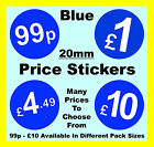 20mm Blue Price Point Shop Stickers POS retail Sticky Labels £1, £1.99, £2, £