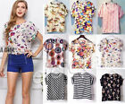 Girls Birds Blouse Sheer Chiffon Top Casual Batwing Short Sleeve Loose T Shirt