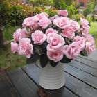 Artificial 12 Heads Silk Rose Flower Leaf For Wedding Party Bridal Decor 5Colors