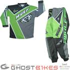 Wulfsport Crossfire Cub Motocross Suit Green MX Enduro Race Junior Kids Kit Wulf