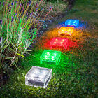Large Solar Powered LED Glass Ice Cube Brick Outdoor Garden Patio Path Light