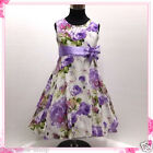 Purples Christening Wedding Party Flower Girls Dresses SIZE 2-3-4-5-6-7-8-10-12Y