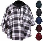 Womens Plus Size New Check Print Ladies Faux Fur Fleece Collar Poncho Cape Coat