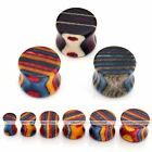 Pair Wood Colorful Stripes Saddle Flared Ear Plugs Tunnel Expander Stretcher New