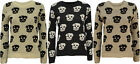 New Ladies Skull Knitted Jumper Womens Long Sleeve Crew Neck Stretch Top 8-14