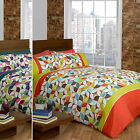 Colourful Kaleidoscope Duvet Cover Set with Geometric Retro Florals & Squares