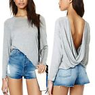 May&Maya Women's Super Soft Fabric Draped Wrapped Back Top Blouse Shirt