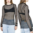 May&Maya Women's Black Stretch Raw Cut Hem Long Sleeve Net Top Shirt Blouse
