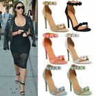 WOMENS LADIES SEXY STRAPPY STILETTO HIGH HEEL SANDALS EMBELLISHED CUFF PEEP TOE