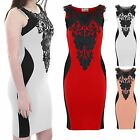 Ladies Crochet Neck Slimming Effect Panel Bodycon Midi Knee Length Dress