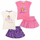 Girls Disney Princess Sofia T Shirt Kids Top Skirt 2pc Set New Age 3 4 5 6 Years