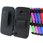 For ATT Huawei Tribute Fusion 3 Y536A1 Rugged Hybrid Hard Case Belt Clip Holster