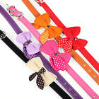 Favored Knit Bowknot Adjustable PU Leather Dog Puppy Pet Collars Necklace