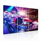 MUSIC DJ Headphone Canvas Framed Printed Wall Art 9 ~ 3 Panels