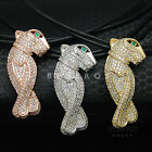 Vogue Panther Leather Necklace Green Eye CZ Animal Jewelry Leopard Silver Gold R