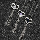 Red Clear Purple Crystal  Love Heart  Pendant Necklace 925 sterling silver