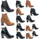 WOMENS LADIES BLOCK HIGH HEEL PATENT BUCKLE POINTY CHELSEA BIKER ANKLE BOOT SIZE
