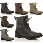 WOMENS LADIES MILITARY ARMY COMBAT LOW HEEL LACE UP ZIP BIKER ANKLE BOOTS SIZE