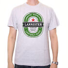 INSPIRED BY GAME OF THRONES T SHIRT - LANNISTER BEER LABEL WHITE / GREY CULT TV
