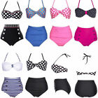 Ladies Fashion Vintage High Waist Bikini Retro Swimsuit Beach Padded UK6 8 10 12