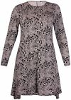 Womens Plus Size Paisley Print Ladies Stretch Long Sleeve Flared Swing Dress Top