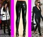 GIRLS LADIES BLACK SHINY WET LEATHER LOOK LEGGINGS PANTS TROUSERS ANKLE LENGTH@