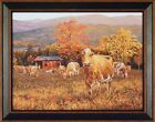 """""""AUTUMN'S GOLD"""" by Bonnie Mohr 15X19 FRAMED PRINT Cows Cattle Fall Leaves Barn"""