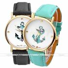Womens Sea Anchor Leather Analog Round Case Quartz Wrist Watch Fashion Jewelry