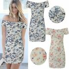 LADIES WOMENS SHORT SUMMER MINI OFF SHOULDER DRESS BODYCON FLORAL HOLIDAY SIZE