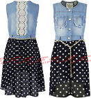 Girls Dresses Sleeveless Summer Chambray Denim Polka Dot Kids Fashion Ages 4-14y