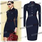 Ladies Vintage Navy Blue Short Min Bodycon Coat Dress Outwear Knit Cardigan Top