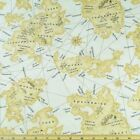 100%25+Cotton+Fabric+Timeless+Treasures+British+Vintage+Map+County+Town+Castles+