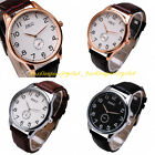 Classic Men Stainless Steel Leather Digital Dial Sport Casual Quartz Wrist Watch