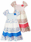 Girls Cotton Gypsy Dress Kids Pink Floral Summer Sun Dresses New Age 2 - 8 Years