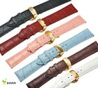 12~24mm Leather Cowhide Butterfly Gold Stainless Steel Buckle Watch Strap LM01