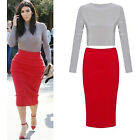 LADIES CELEBS KIM KARDASHIAN PENCIL ZIP SKIRT 2 PIECE SET CROP  TOP SIZE 8-14