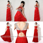 Sexy Backless Evening Dresses Red Prom Long Party Dress Jeweled Sheer Neck Gowns