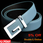 New Quality Genuine Leather Mens Business Dress Metal Buckle Belts Black White