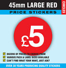 Large £5 -  45mm Bright Red Shop Retail Price Point Stickers / Sticky Labels
