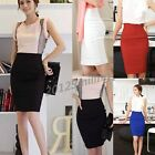 2015 OL Lady High Waist Knee Length Straight Solid Stretch Business Pencil Skirt