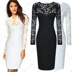 Womens Black Lace Vintage Cocktail Party Bodycon Evening Short Mini Dresses