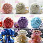 Bridal Wedding Bouquet Bridesmaid Roses Beads Gold Ribbon White Lace Party Decor