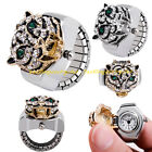 Fashion Lady Shiny Crystal Leopard Alloy Round Elastic Quartz Finger Ring Watch
