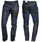 Mens Standout Voi Jeans Denim Tapered Relaxed Cinch Back Buckle Strap Trousers
