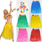 Hawaiian Fancy Dress Hula Grass Skirt With Flower Accessories Adult Costume