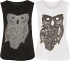 New Womens Casual Diamante Sparkle Owl Print Sleeveless Ladies Vest Top 8-14