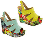 Womens DOLCIS Floral Wedge Sandals Ladies Platform High Heels Size 3 4 5 6 7 8