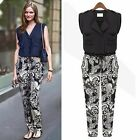 Women's Vogue Collarless Lapel Buttons Floral Jumpsuit Overalls Trousers Chic