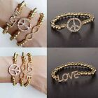New Charm Fashion Jewelry Crystal Gold Bead Nice Love Cuff Bracelet Elastic