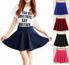 Fashion Women Short Stretch high Waist Skirt Flared Plain Mini Pleated Skirt new